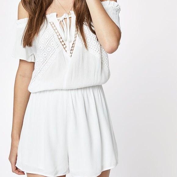 PacSun Dresses & Skirts - White off-shoulder Romper ☆ Pacsun